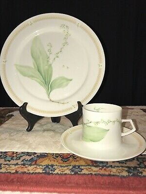 Mikasa NATURES GARDEN  Dinner Plate, Cup & Saucer May Lily of the Valley 3 Piece