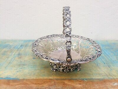 STERLING SILVER Swinging Bridal Basket Antique Pierced Victorian 1700's