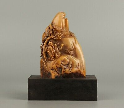 Chinese Exquisite Hand-carved landscape people Carving Shoushan Stone seal