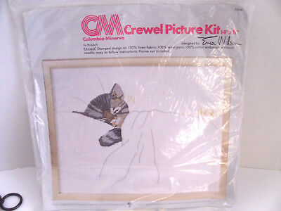 """CM Crewel Picture Kit of a Sleepy Kitten Chessie Cat Tucked Up In Bed 14"""" x 11"""""""
