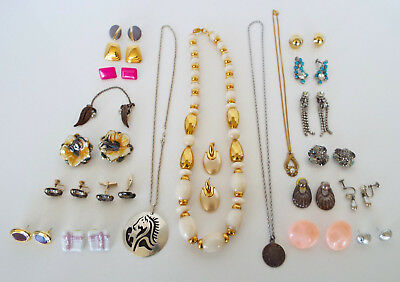 VINTAGE JEWELRY 39 Pc Estate Lot Napier Sterling Necklaces Earrings Cuff Links