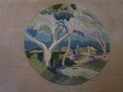 Completed Long Stitch  Of Early Spring. 29Cms Round.