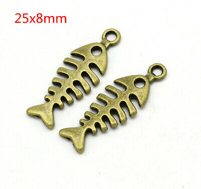 Ancient bronze  Fish thorn charm pendant beads DIY Bracelet 30pcs LC