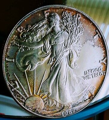 1987 1 oz .999 American Silver Eagle Dollar Bullion Rainbow Toned,