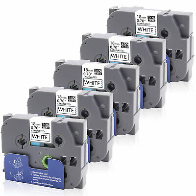 5PK TZe-241 TZ241 Label Tapes P-touch Compatible/Brother 18mm White 0.75 PT-9600