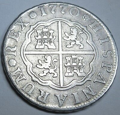 1770 Spanish Silver 2 Reales Piece of 8 Real US Colonial Two Bits Pirate Coin