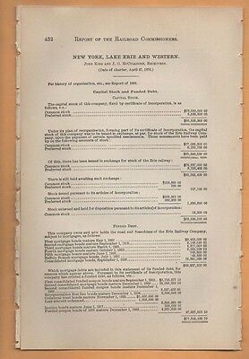 1893 NEW YORK LAKE ERIE AND WESTERN railroad report Vintage train paper