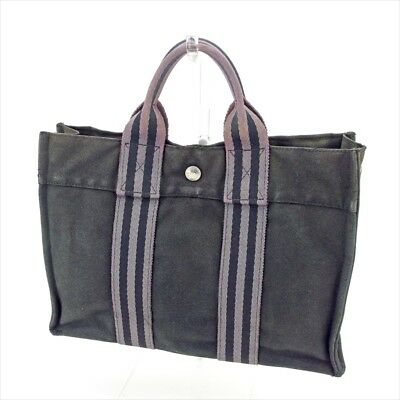 Hermes Tote bag Fourre Tout Black Grey Woman unisex Authentic Used T5215