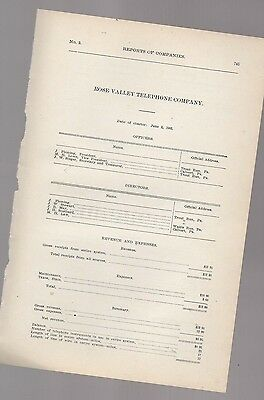1906 annual report ROSE VALLEY TELEPHONE COMPANY Delaware County Pennsylvania PA