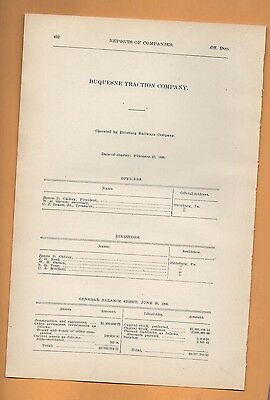 1906 train report DUQUESNE TRACTION COMPANY Pittsburgh PA trolley cable car