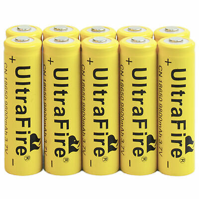 10Pcs 18650 9800mAh Li-ion 3.7V Rechargeable Battery for Flashlight Torch Calm