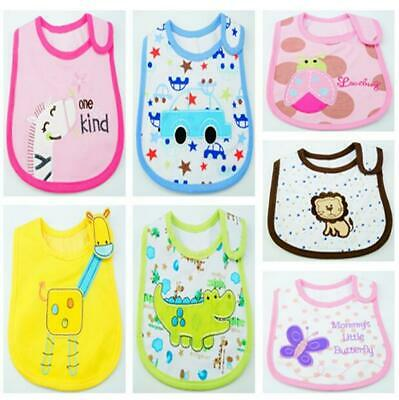 Baby Girl Boy Waterproof Cartoon Towel Kids Toddler Dinner Feeding Bibs