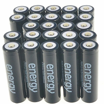 2-24pcs 18650 3.7V 10000mAh Energy Li-ion Black Rechargeable Battery US