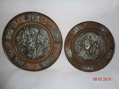Two (2) Antique Indian Silver Inlaid Plaques Hindu Shiva Brahma Vishnu Saraswati
