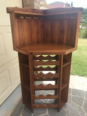 Timber corner unit wine rack, used