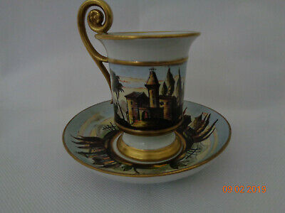 Antique Richard Ginori Cup & Saucer Hand Painted Gilded C.1900