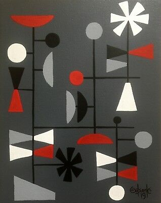 Clee Sobieski Painting Mid Century Modern Danish Abstract Retro Geometric Atomic