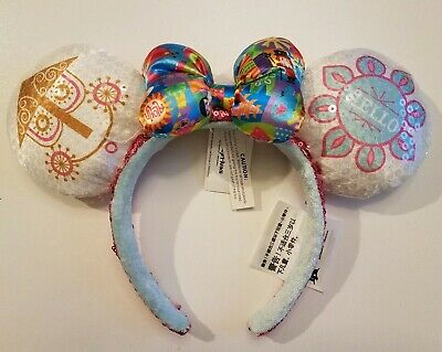 Disney It's A Small World Minnie Mouse Sequined Ear Headband with Satin Bow NEW