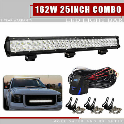 """25""""inch 162W Dual-Row Led Work Light Bar Spot Flood For Jeep Ford Offroad Lamp"""