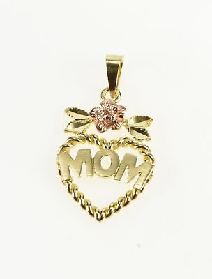 10K Two Tone Mom Heart Rose Accent Mother's Day Charm/Pendant Yellow Gold *62