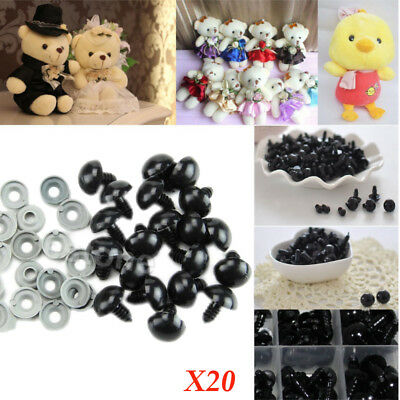 Solid Black Eyes PLASTIC BACKS - Teddy Bear Making Soft Toy Doll Animal Craft