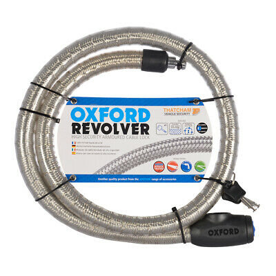 Oxford Revolver Motorbike Motorcycle Cable Lock 1.4m Silver Heavy Duty OF231