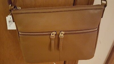 0e68eee30786 FOSSIL ELISE LARGE Cross Body Brown Pebble Leather Nwt!! Msrp  158 ...