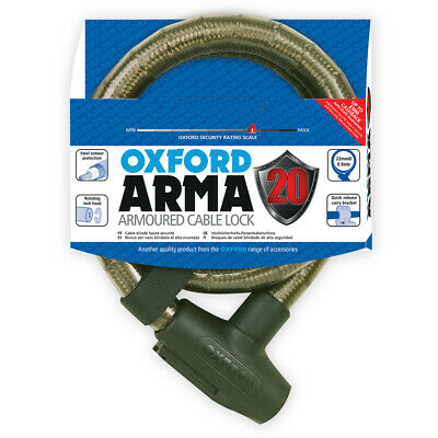 Oxford Arma20 Armoured Cable Lock 0.9m - Smoke Heavy Duty Motorcycle Lock LK284