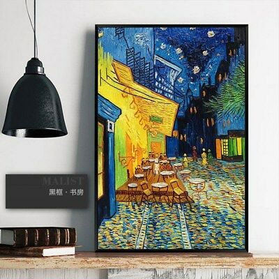 YA897 Modern Room decor oil painting Cafe Terrace at Night Hand-painted Copy