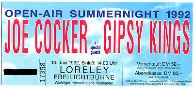 Joe Cocker + Gipsy Kings  Eintrittskarte Konzert 13.6.1992
