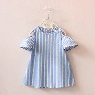 Kids Baby Girls Short Sleeve Princess Dress Outfit Party Sundress Clothes 2-7Y
