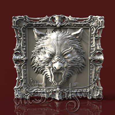 3D Model STL for CNC Router Artcam Aspire Angry Wolf Head Panel Cut3D Vcarve