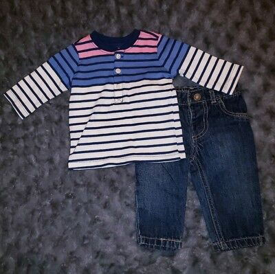 2cbdb2038 NWOT Carters Baby Boy Clothes 3 Months 2 Piece Long Sleeve Shirt Jeans Pants  Set