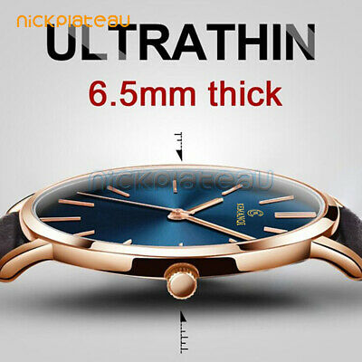 Men's Ultra Thin Slim Formal Causal Smart Leather Analog Quartz Wrist Watch Gift