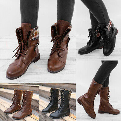 1ccc61bfb7 Women's Mid-Calf Military Boots Army Combat Ankle Lace Up Flat Zip Shoes  Size
