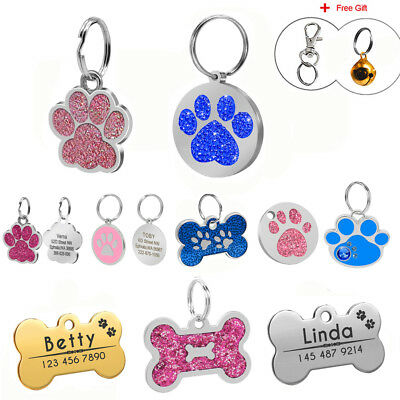 Personalised Pet Tags for Dogs Custom Engrave Dog Name Address Phone Free Bell