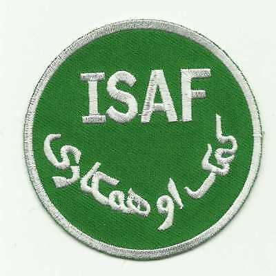 Insigne tissu, Patch AFGHANISTAN-ISAF  COULEUR VERT CLAIR