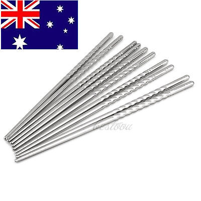 5 Pairs of Stainless Steel Chopsticks Anti-skip Thread Style Durable Silver  XO