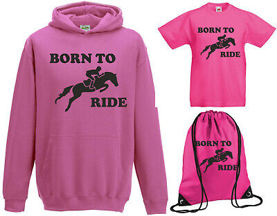 Boys Girls Kids Born To Ride Hoody+TShirt+Gymsac Gift Set Horse Jumping Riding