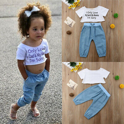 Toddler Kids Baby Girls Short Sleeve T-shirt Tops + Long Pants Outfits Clothes