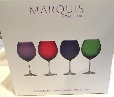 NWT Marquis by Waterford Vintage Jewels Set of 4 Aromatic Balloon Wine Glasses
