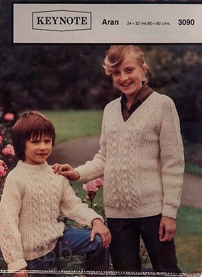 102cbadc3e8539 Keynote Knitting Pattern 3090 Childs Aran Cable Sweaters Crew V 24-32
