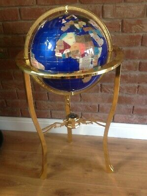 13 Inch Lapis Gemstone Globe - 3-Legged Gold Stand with Compass