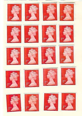 50 x 1st Class First Class UNFRANKED ALL RED STAMPS Off Paper PEEL AND STICK #