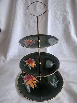"PALISSY Royal Worcester ""RED MAPLE"" Three tier CAKE STAND - Vintage 1960s"