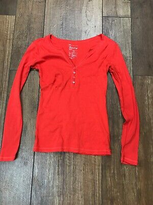 7153bfd29fb1ae Gap The Bowery Henley Womens Long Sleeve Knit Top Solid Red Orange SZ XS