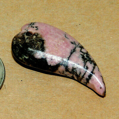 Rhodonite Drilled Horn Bead 36x20mm with 8mm thick (14723)