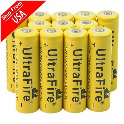 12pc 18650 3.7V 9800mAh Yellow Li-ion Rechargeable Battery Cell Torch flashlight