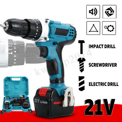 Lithium Electric Cordless Impact Hammer Drill LED Light Rechargeable Adjustable