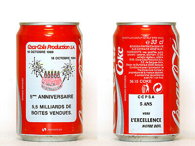 1994 Coca Cola can from France, Coca-Cola Production S.A. 5eme Anniversaire
